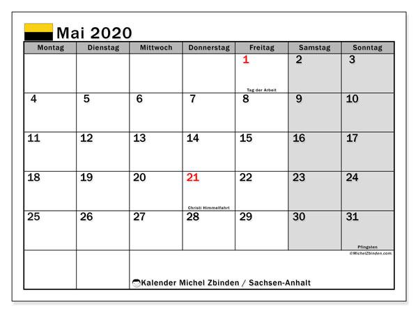 Kalender Mai 2020, mit den Feiertagen in Sachsen-Anhalt. Kalender Feiertage frei zum ausdrucken.