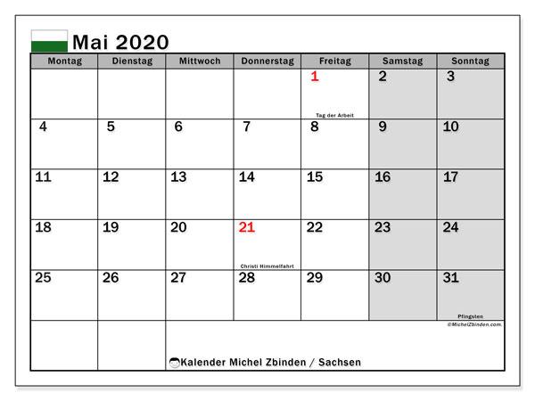 Kalender Mai 2020, mit den Feiertagen in Sachsen. Kalender Feiertage frei zum ausdrucken.
