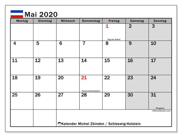 Kalender Mai 2020, mit den Feiertagen in Schleswig-Holstein. Kalender Feiertage frei zum ausdrucken.
