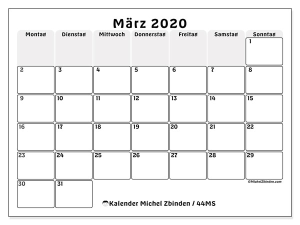 Kalender März 2020, 44MS. Monatskalender zum kostenlosen ausdrucken.