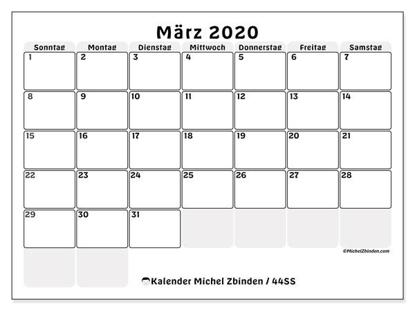 Kalender März 2020, 44SS. Kostenlos ausdruckbare Planer.