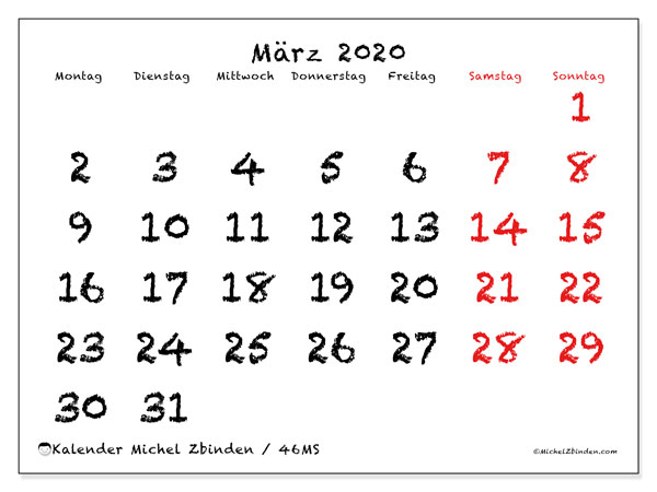 Kalender März 2020, 46MS. Monatlicher Kalender zum kostenlosen ausdrucken.