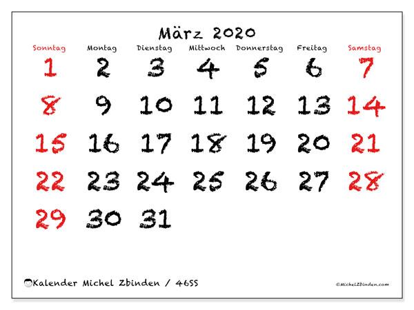 Kalender März 2020, 46SS. Kalender zum kostenlosen ausdrucken.