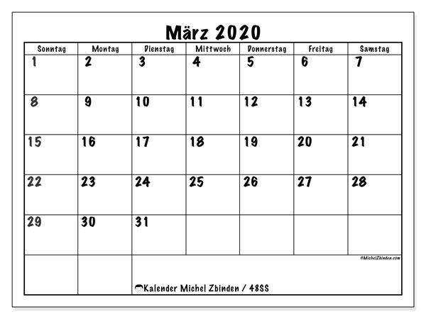 Kalender März 2020, 48SS. Kostenlos ausdruckbare Planer.
