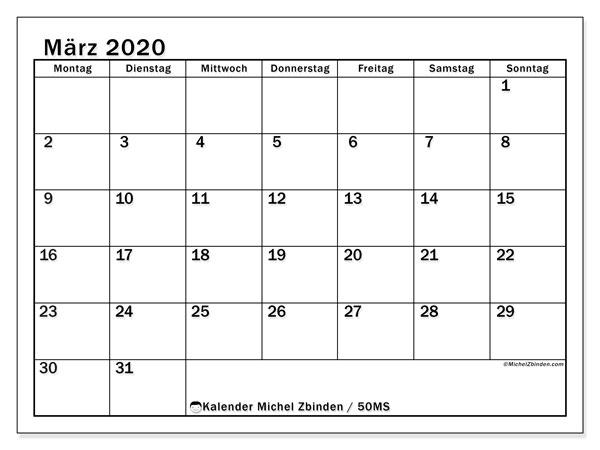 Kalender März 2020, 50MS. Monatskalender zum kostenlosen ausdrucken.