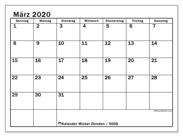 Kalender März 2020, 50SS. Monatlicher Kalender zum kostenlosen ausdrucken.