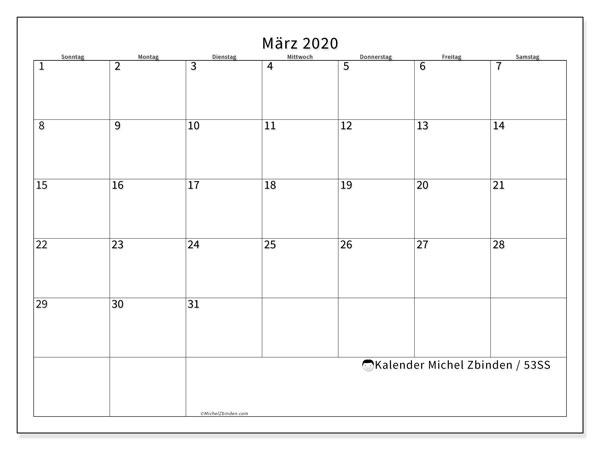 Kalender März 2020, 53SS. Zeitplan zum kostenlosen ausdrucken.
