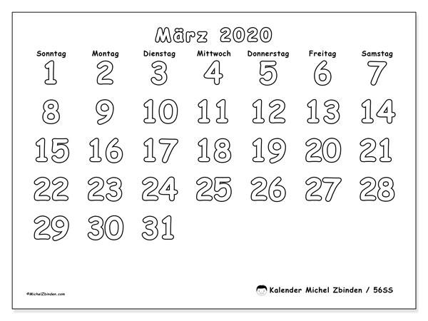 Kalender März 2020, 56SS. Monatskalender zum kostenlosen ausdrucken.