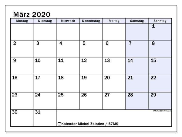 Kalender März 2020, 57MS. Kalender für den Monat zum kostenlosen ausdrucken.