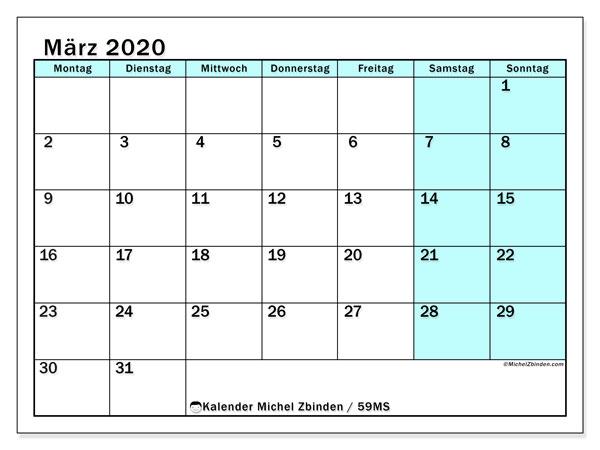 Kalender März 2020, 59MS. Monatlicher Zeitplan zum kostenlosen ausdrucken.