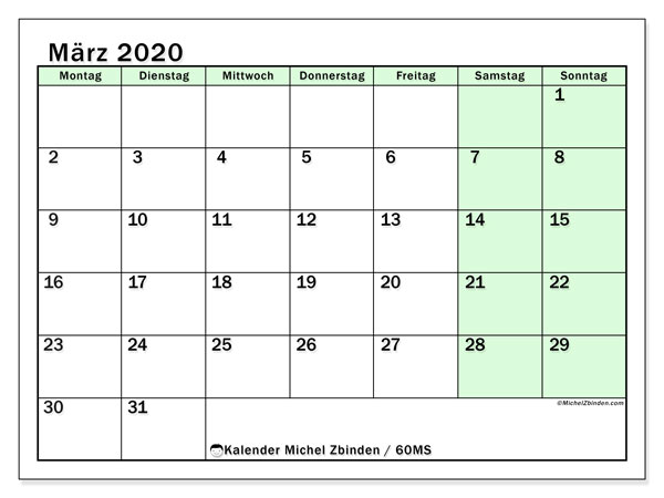 Kalender März 2020, 60MS. Kostenlos ausdruckbare Kalender.