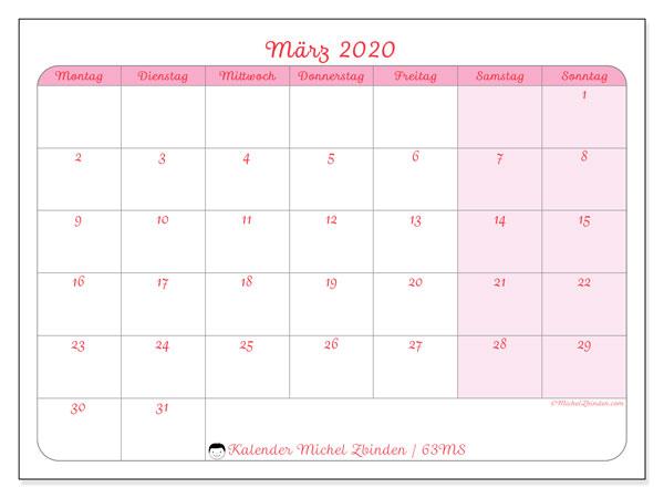Kalender März 2020, 63MS. Kalender für den Monat zum kostenlosen ausdrucken.