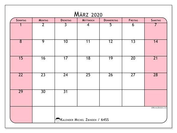 Kalender März 2020, 64SS. Kalender für den Monat zum kostenlosen ausdrucken.