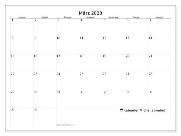 Kalender März 2020, 70SS. Zeitplan zum kostenlosen ausdrucken.