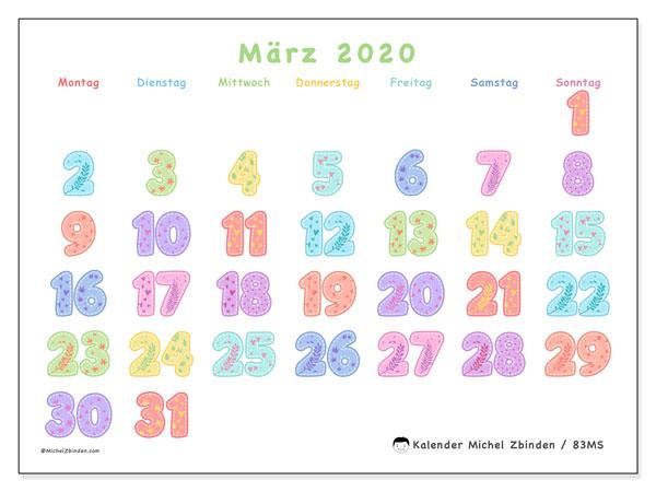 Kalender März 2020, 83MS. Kostenlos ausdruckbare Kalender.
