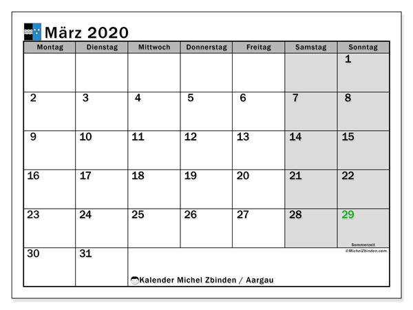 Kalender März 2020, mit den Feiertagen des Kantons Aargau. Kalender Feiertage frei zum ausdrucken.
