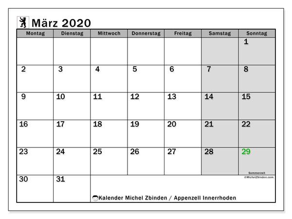 Kalender März 2020, mit den Feiertagen des Kantons Appenzell Innerrhoden. Kalender mit Feiertagen zum kostenlosen ausdrucken.