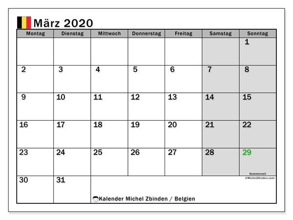 Kalender März 2020, mit den Feiertagen von Belgien. Kalender mit Feiertagen zum kostenlosen ausdrucken.