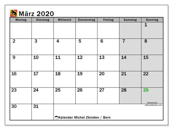 Kalender März 2020, mit den Feiertagen des Kantons Bern. Kalender mit Feiertagen zum kostenlosen ausdrucken.