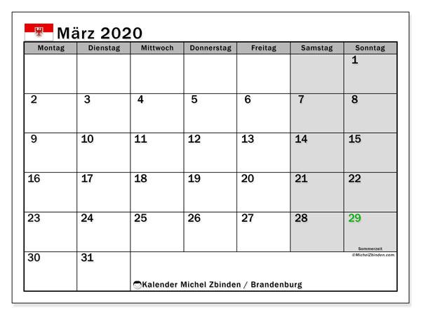 Kalender März 2020, mit den Feiertagen in Brandenburg. Kalender Feiertage frei zum ausdrucken.