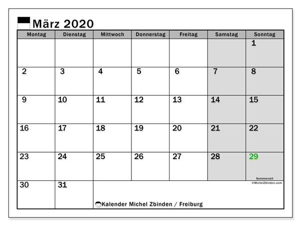 Kalender März 2020, mit den Feiertagen des Kantons Freiburg. Kalender mit Feiertagen zum kostenlosen ausdrucken.