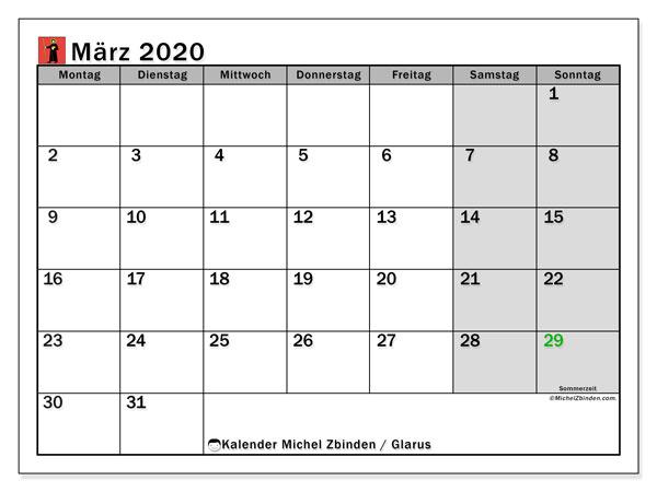 Kalender März 2020, mit den Feiertagen des Kantons Glarus. Kalender mit Feiertagen zum kostenlosen ausdrucken.