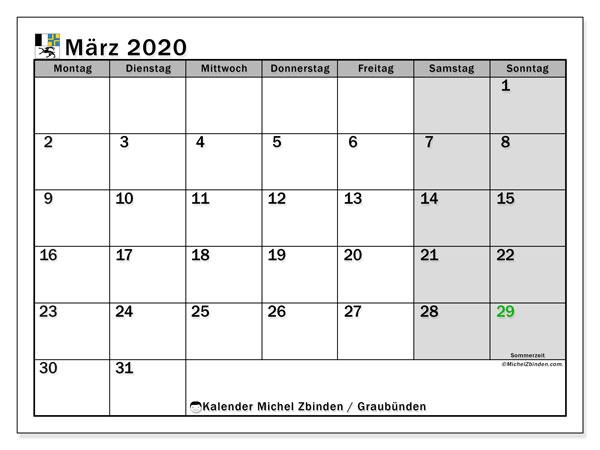 Kalender März 2020, mit den Feiertagen des Kantons Graubünden. Kalender Feiertage frei zum ausdrucken.