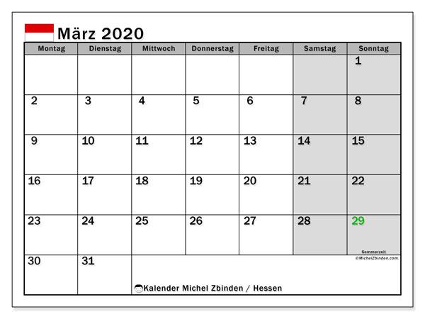 Kalender März 2020, mit den Feiertagen in Hessen. Kalender mit Feiertagen zum kostenlosen ausdrucken.