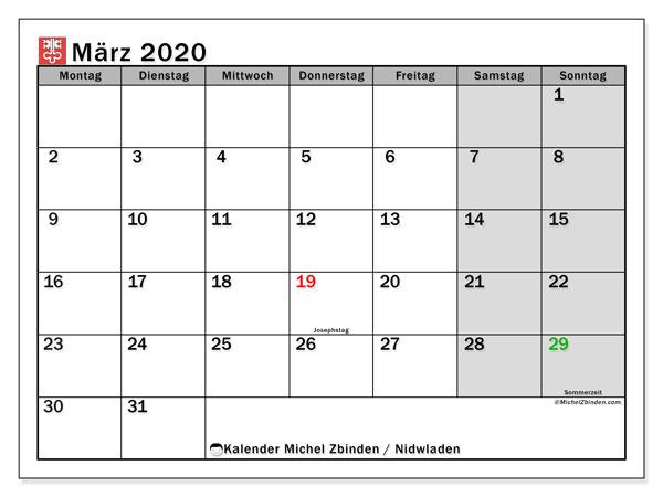 Kalender März 2020, mit den Feiertagen des Kantons Nidwalden. Kalender mit Feiertagen zum kostenlosen ausdrucken.