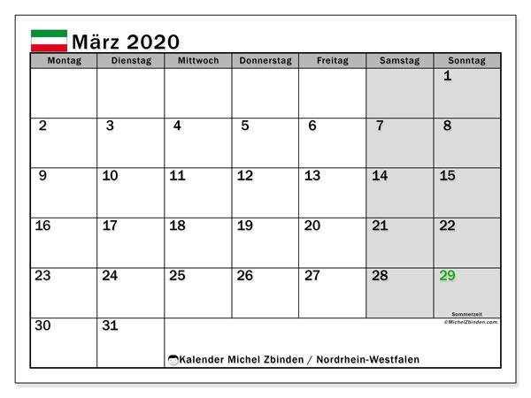 Kalender März 2020, mit den Feiertagen in Nordrhein-Westfalen. Kalender mit Feiertagen zum kostenlosen ausdrucken.