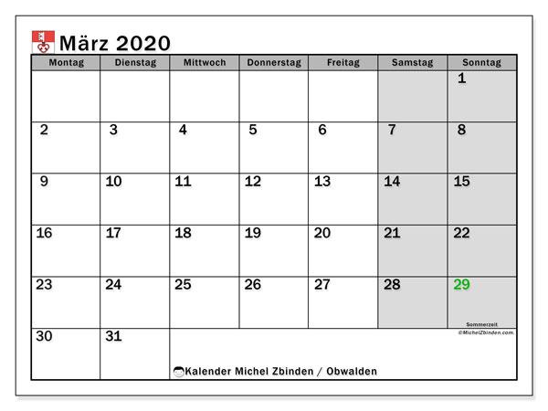 Kalender März 2020, mit den Feiertagen des Kantons Obwalden. Kalender mit Feiertagen zum kostenlosen ausdrucken.