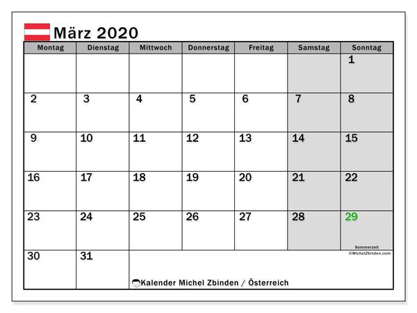 Kalender für März 2020, mit Feiertagen in Österreich. Zeitplan zum kostenlosen ausdrucken.
