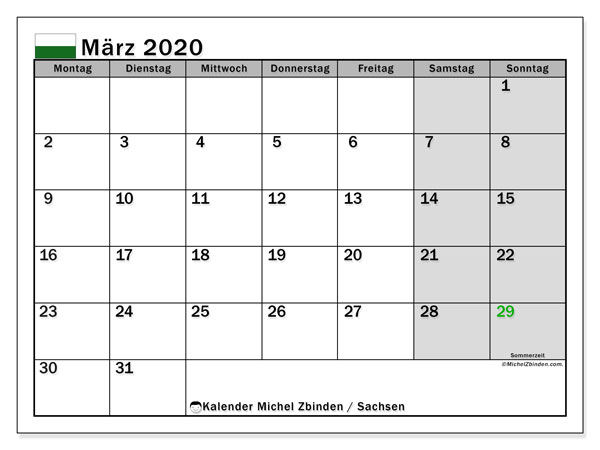 Kalender März 2020, mit den Feiertagen in Sachsen. Kalender Feiertage frei zum ausdrucken.
