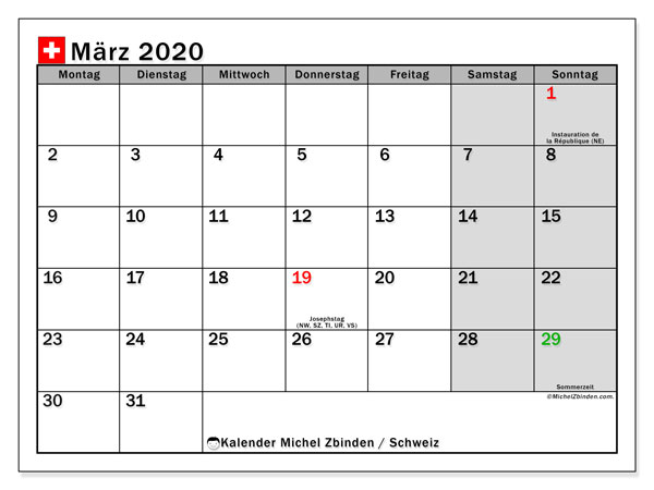 Kalender März 2020, mit den Feiertagen der  Schweiz. Kalender mit Feiertagen zum kostenlosen ausdrucken.