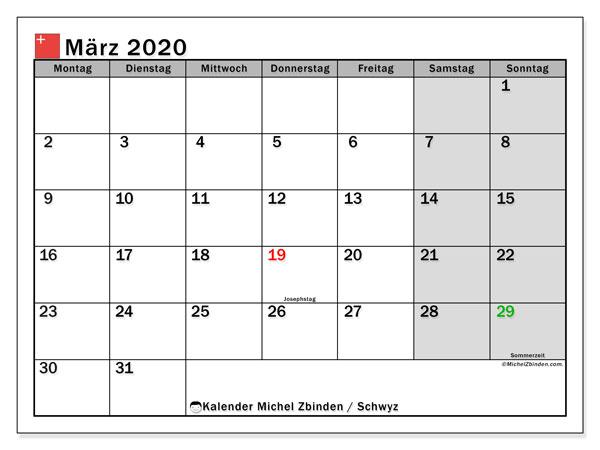 Kalender März 2020, mit den Feiertagen des Kantons Schwyz. Kalender mit Feiertagen zum kostenlosen ausdrucken.