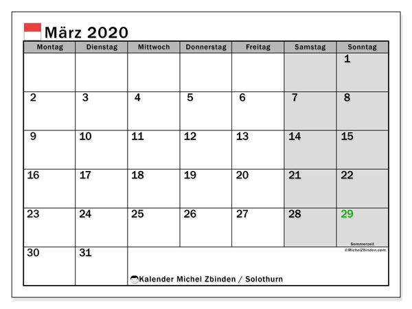 Kalender März 2020, mit den Feiertagen des Kantons Solothurn. Kalender Feiertage frei zum ausdrucken.