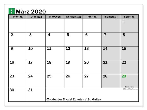 Kalender März 2020, mit den Feiertagen des Kantons St. Gallen. Kalender Feiertage frei zum ausdrucken.