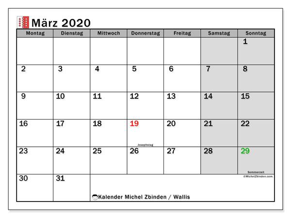 Kalender März 2020, mit den Feiertagen des Kantons Wallis. Kalender mit Feiertagen zum kostenlosen ausdrucken.