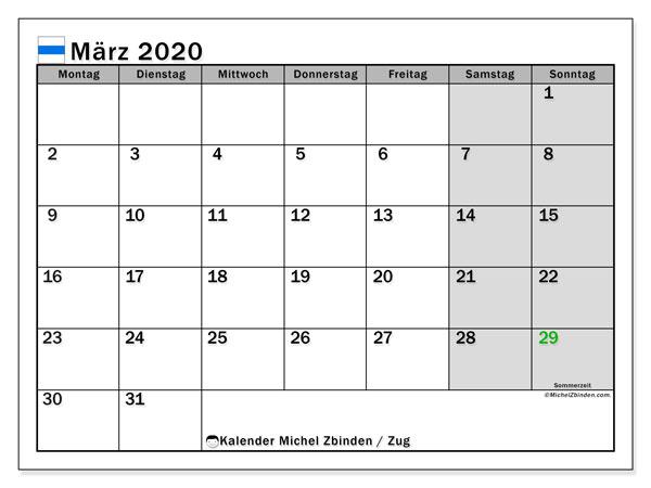 Kalender März 2020, mit den Feiertagen des Kantons Zug. Kalender Feiertage frei zum ausdrucken.