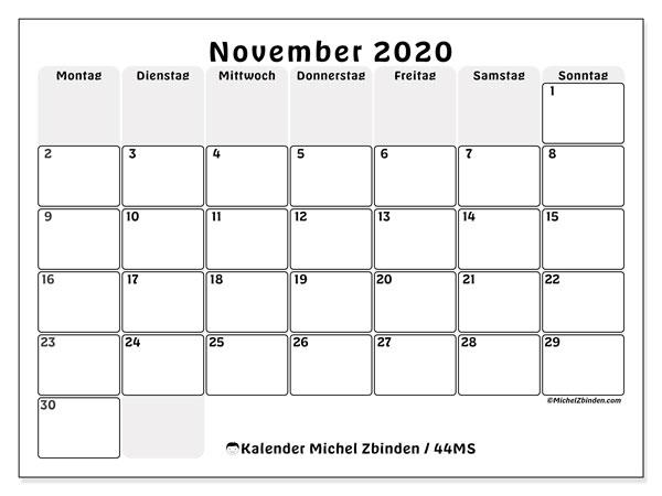 Kalender November 2020, 44MS. Kostenloser Kalender zum ausdrucken.