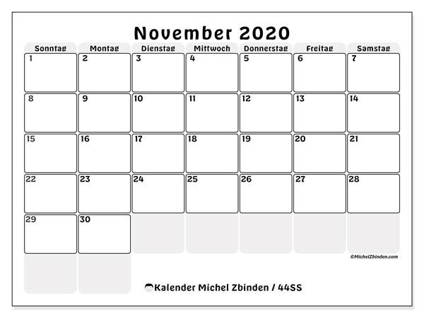 Kalender November 2020, 44SS. Planer zum kostenlosen ausdrucken.
