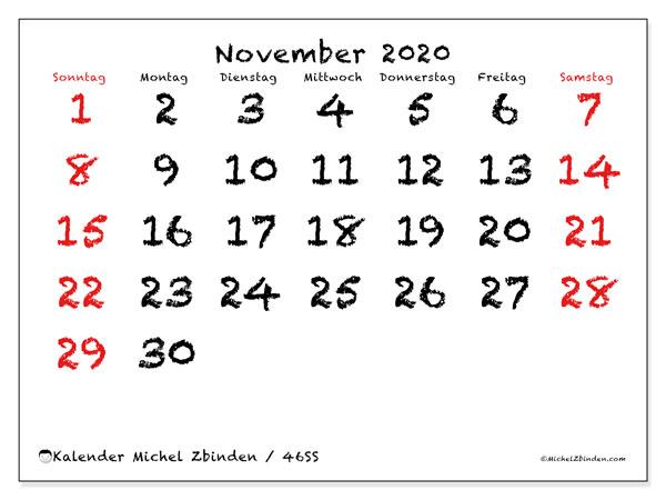 Kalender November 2020, 46SS. Kostenloser Zeitplan zum ausdrucken.