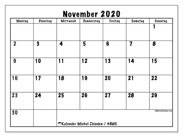 Kalender November 2020, 48MS. Planer zum kostenlosen ausdrucken.