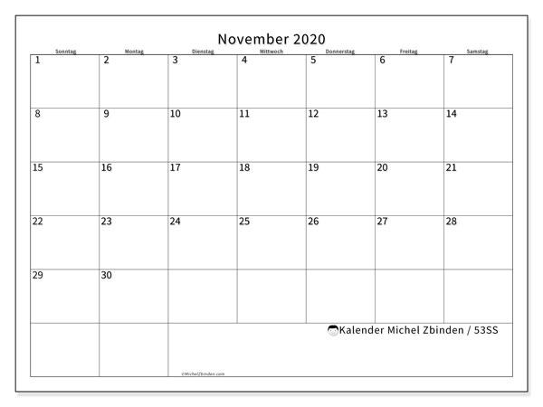 Kalender November 2020, 53SS. Monatlicher Zeitplan zum kostenlosen ausdrucken.