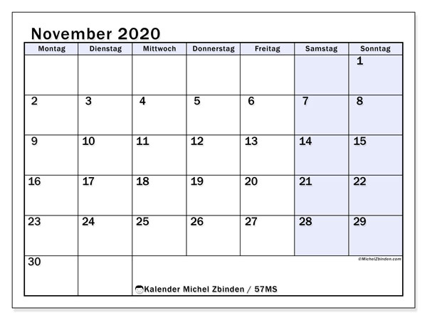 Kalender November 2020, 57MS. Kalender für den Monat zum kostenlosen ausdrucken.