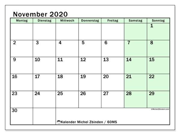 Kalender November 2020, 60MS. Kostenlos ausdruckbare Zeitplan.