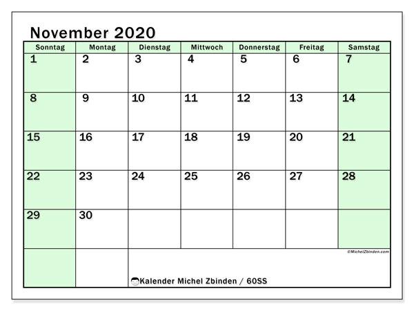 Kalender November 2020, 60SS. Planer zum kostenlosen ausdrucken.