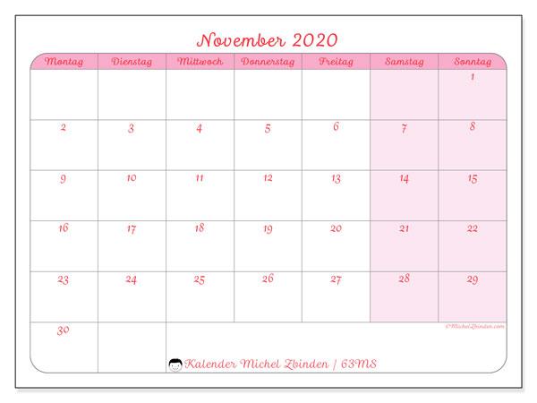 Kalender November 2020, 63MS. Kostenloser Zeitplan zum ausdrucken.