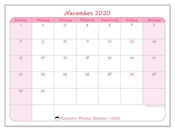 Kalender November 2020, 63SS. Kostenlos ausdruckbare Zeitplan.