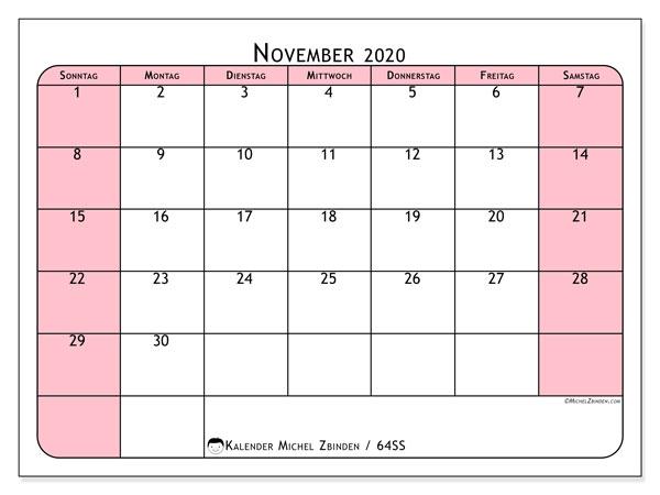 Kalender November 2020, 64SS. Monatlicher Zeitplan zum kostenlosen ausdrucken.